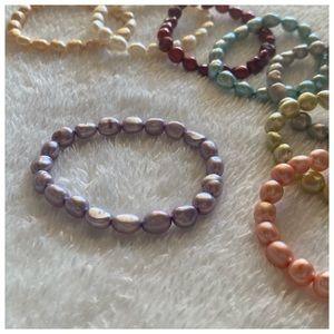 purple cultured pearls bracelet NWOT